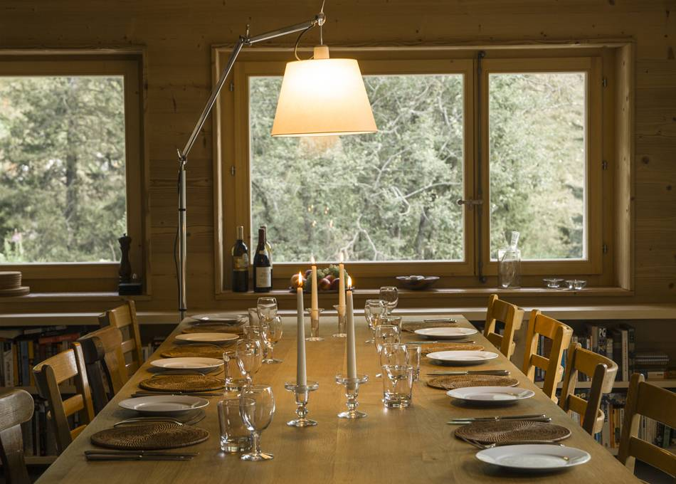 Spacious dining around the oak table