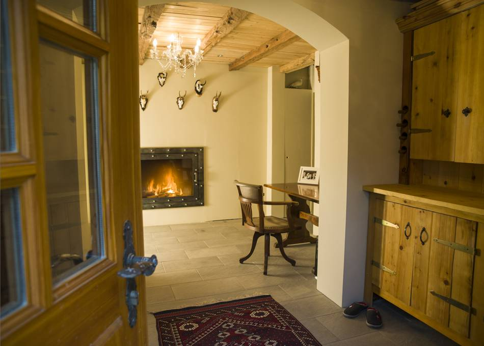 A roaring fire welcomes you to the chalet